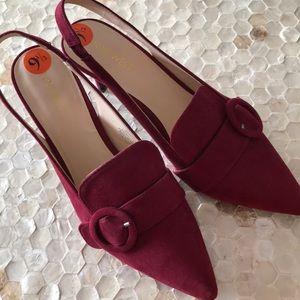 "Nine West Maroon Suede sling back 3"" heels size9.5"